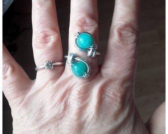 Ring adjustable stainless amazonite
