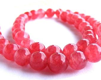 8 cherry quartz de 8 mm perles pierre rose rouge.