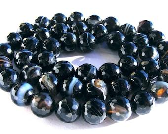 8 agates strié à facette de  8mm perles pierre noire strié de blanc.