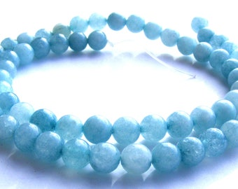 8 aquamarines de 6 mm perles pierres bleues transparentes.