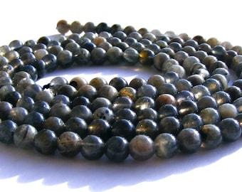 10 labradorites de 4 mm perles pierre verte et grise irisée.