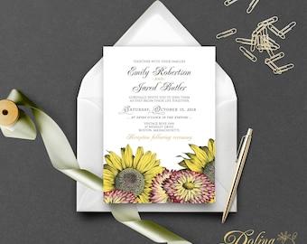 Fall Wedding Invitation Garden Wedding Invitation Fall Flowers Sunflowers Invitation Printable Rustic Wedding Autumn Outdoor Wedding Invite