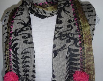 Woven wool and silk scarf