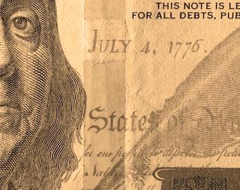 Modern contemporary artwork of Ben Franklin, Money Photography, Fine art, 100 dollar bill, Poster, Office art, Digital download