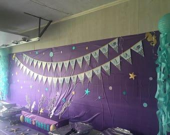 Mermaid theme- Happy Birthday Banner