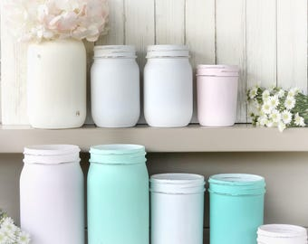 Wedding vases, baby shower, Painted distressed jar with smooth back and sides  Desk storage. Custom colors, baby shower, gift, hostess