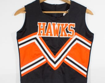 "Vintage Black & Orange ""Hawks"" Schoolgirl Cheerleader Uniform, Halloween Costume"