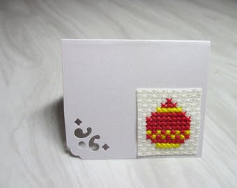 "Mini Card mark up embroidered ""Christmas red and yellow ball"""
