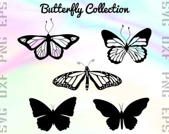 Butterfly SVG Clipart, ButterFly Dxf Files, Cut Files for Cutting Machines like Cricut or Silhouette, Svg, Dxf, Png, Eps Vector Files