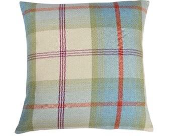 Balmoral Aqua Checked Tartan Plaid Cushion Cover