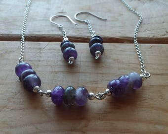 Amethyst Rondelle Gemstone Necklace and Earring Set