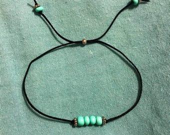 Dainty Turquoise & Silver Beaded Bracelet
