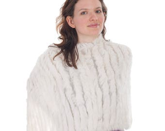 Sumptuous Women's Handmade Rabbit Fur Shawl | Cape | Poncho | Scarf | Cream | Exquisitely Soft | Fantastic Gift |