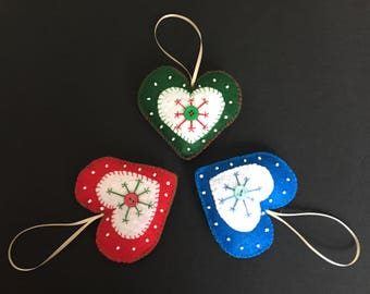 3pc set christmas ornaments, heart ornaments, christmas decorations, felt ornaments, christmas tree ornaments, keepsakes, snowflake ornament