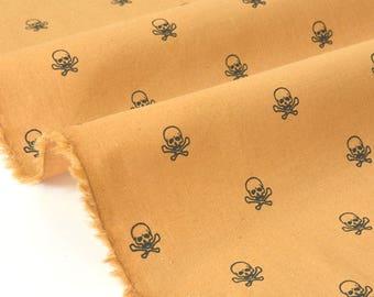 Skull background mustard x 50cm cotton Poplin fabric