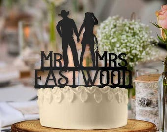 Personalized Cowboy Couple Mr and Mrs Cake Topper