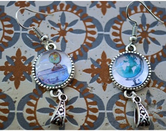 Earrings asymmetrical globe world map