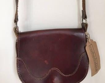 Vintage chocolate brown leather crossbody saddle bag