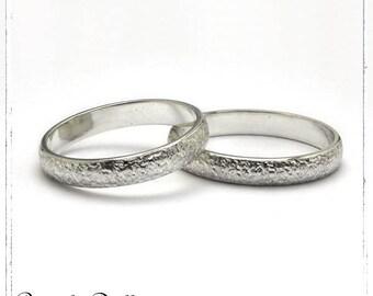 Duo alliances bombées structurées 3mm argent massif 925- Collections de bijoux Amour Mariage Pacs