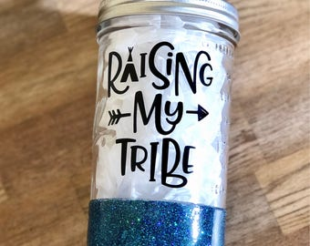 Glitter Dipped Mason Jar - Raising My Tribe