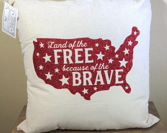 Natural Canvas Pillow - Land of the FREE because of the Brave