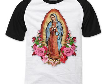 Virgen de Guadalupe, Our Lady of Guadalupe with Roses raglan sleeve T-shirt