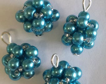 4 4mm blue glass pearl beads pendants