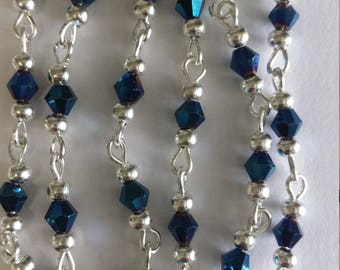 chain 55cm / 4mm metallic blue glass beads
