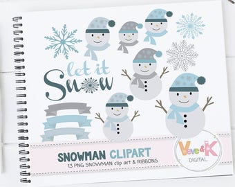 Cute Snowmen, Snowman Clipart, Christmas Winter Clipart, Let it snow, Winter Graphics, Chirstmas graphics, Winter Clip Art, Commercial Use