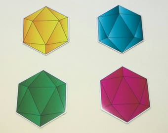 D20 Fridge Magnet - Set of 4