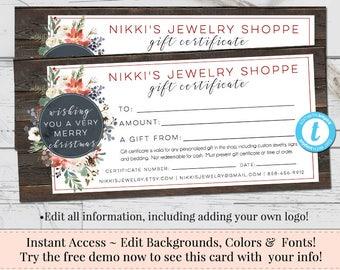 Christmas Gift Certificate, Voucher, Printable Gift Cert, Editable Gift Certificate, Instant Download, Business Templates, Shop Voucher