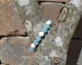 Aquamarine and Howlite Mala Bracelet