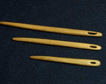 Oak wood nalbinding needles / Handcarved wooden naalbinding needle / Set of 3  nalbinding needles / Wooden needles /  Nålebinding / Medieval