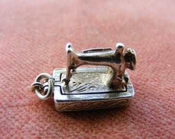 F) Vintage Sterling Silver Charm Sewing machine opens to scissors