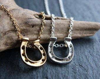 Horseshoe Necklace or Earrings gold or silver necklace luck, lucky charm, horseshoe