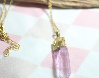 Natural rose quartz in gold with chain stone No. 5