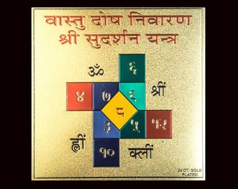 Vastu Dosa Nivarana Yantra ~ SPACE CLEARING ~ Embossed on Canvass | Gold Plated