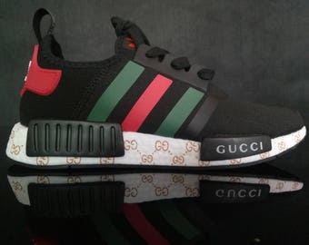 custom paint mens and womens adidas nmd casual shoes gucci style black color athletic run sneakers