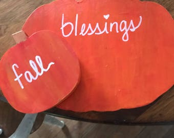 Fall Blessings. 2 hand painted wooden pumpkins.