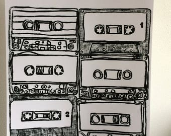 A4 size Cassettes - lino cut prints - limited edition