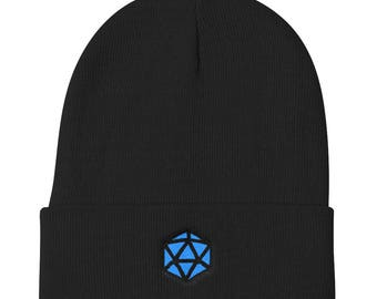 Blue D20 Knit Beanie - Dungeons and Dragons - DnD - Dungeon Master Gift - Pathfinder - RPG - Nerdy Hat - Dnd Hat - Best Friend Gift - Geeky