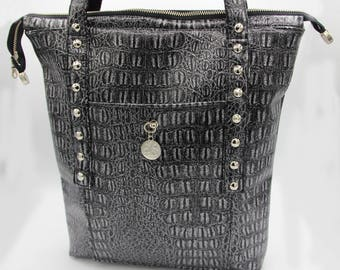 Faux Leather Tote Bag - Black, Silver, Crocodile, Shiny, handcrafted
