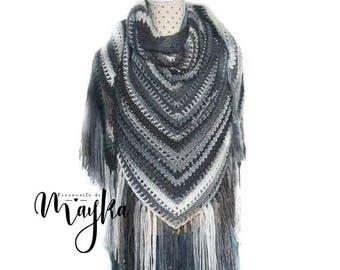 Chal Amoroso / Palestino / Cuello / tejido a mano / handmade negro * gris claro * gris  navidad regalo ganchillo croche cumpleaños navidad
