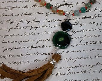 Tassel Necklace, Genuine Leather Necklace, Sterling Silver Necklace, Kazuri Beads Necklace, Gemstone Necklace, Agate Necklace, Gift for Her