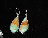 Women's Teardrop Shaped Turquoise Cabochon Earrings - Kingman Turquoise Earrings - Sterling Silver Earrings - Genuine - Real Turquoise