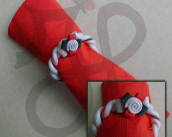 Christmas napkin rings with garlands, Holly and candy canes