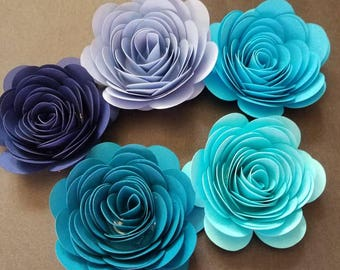 Shades of Blue Ombre Rolled Paper Flowers, Table Decor, Bridal Flower Decor, Baby Shower Decor