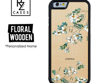 Wooden Phone Case, Floral Phone Case, Wooden Personalized Case, iPhone 7 Case, iphone 6, Personalized Gift for Her, iPhone 6s, Floral iPhone