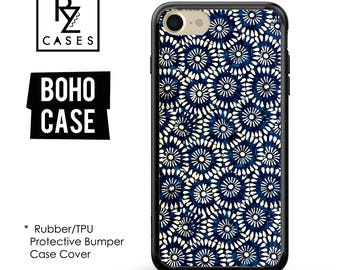 Boho Case, Indigo Case, iPhone 7 Case, iPhone 6 Case, Floral Phone Case, indigo Phone Case, iPhone 7 Plus Case,  Rubber, Bumper Case