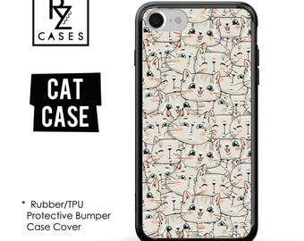 Cat Phone Case, Cute Cat Phone Case, Cat iPhone Case, iPhone 7, Animal, Cat Lover, Gift for Her, iPhone 7 Plus, iPhone 6S, Rubber, Bumper